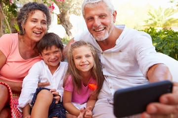 Grandparents With Grandchildren In Garden Taking Selfie