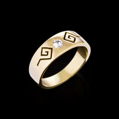 Gold Diamond ring on black background