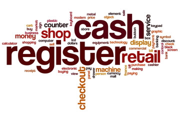Cash register word cloud