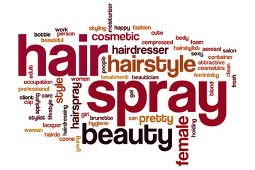 Hair spray word cloud