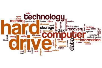 Hard drive word cloud