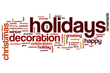 Holidays word cloud