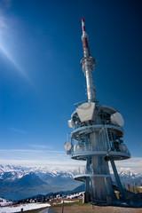 Telecommunication tower on the top of mount Rigi, Switzerland