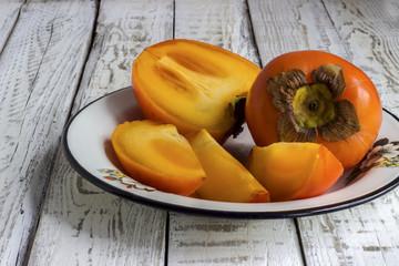 Ripe sweet persimmons
