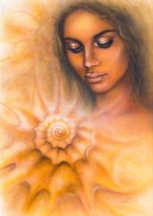 A beautiful airbrush portrait  young woman  eyes meditating