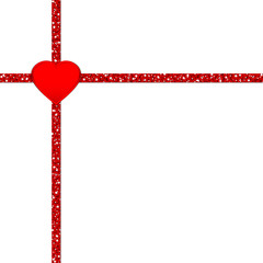 Glitter Ribbon Cross Corner Red Heart