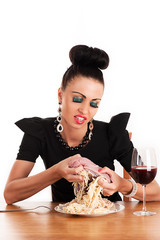 greedy woman eating raw meat