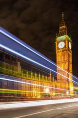 Big Ben and night traffic on Westminster Bridge