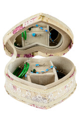 Jewelry box with a mirror in the form of heart, isolated on whit