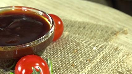 Rotating BBQ Sauce (seamless loopable 4K UHD close-up footage)