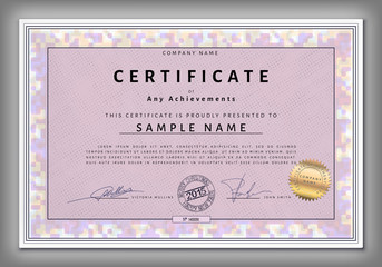 Certificate template with spotted frame in vector