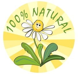 Label for 100 % natural product from ecological environment