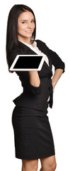 Business woman holds in hands mobile tablet.