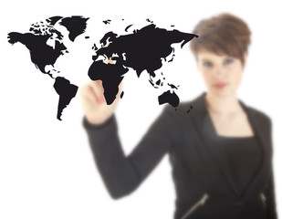 Young woman with black world map isolated on white background