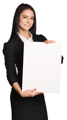 Business woman holding in hand a blank sheet of white cardboard