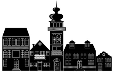 Black and white silhouette of the historic town