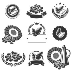 Sunflower seeds label and elements set. Vector