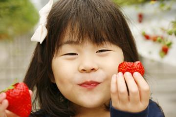 イチゴ狩りする女の子