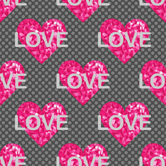 Love seamless pattern, backgrounds with hearts and text