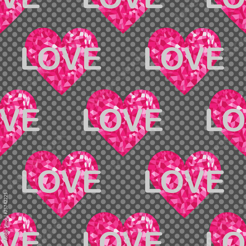 Love seamless pattern, backgrounds with hearts and text © zzayko