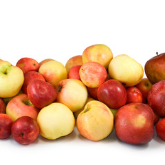 many apples on a white background