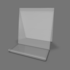 Product transparent marketing stand grey background.