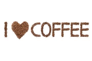 I heart Coffee - Schrift und Form aus Kafeebohnen