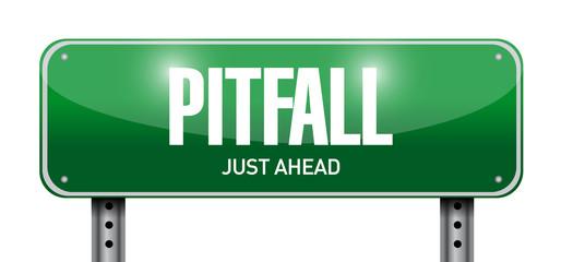 pitfall road sign illustration design