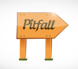 pitfall wood sign illustration design