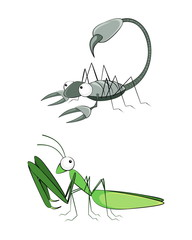 Insect scorpion and mantis