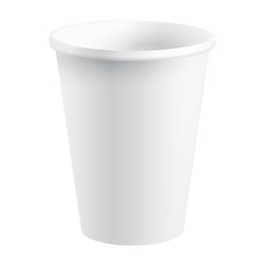 White Paper / Plastic Isolated Cup, Vector Illustration