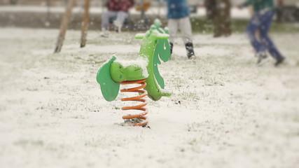 Snowing on Playground Area