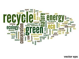 Vector conceptual ecology word cloud
