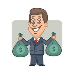 Businessman holding money bags and smiling