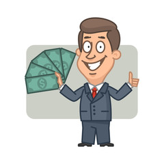Businessman holding money and showing thumbs up
