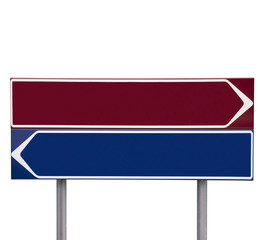 Red and blue Direction Signs