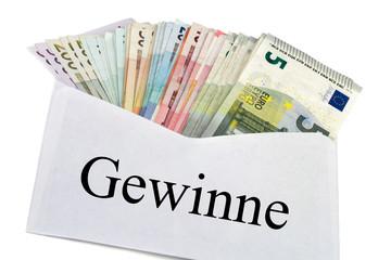 Geldscheine im Briefumschlag - Gewinne