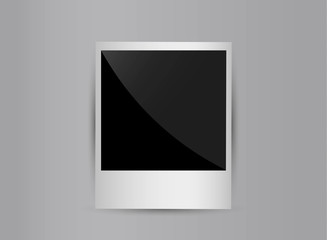 Retro 3d blank photo frame isolated on grey