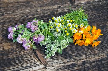 summer medical herbs flowers bunch on old wooden background