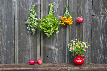 various medical herbs and apple on farm barn wall