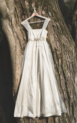 Wedding dress hanging outdoor