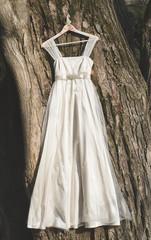 Wedding dress hanging outdoor