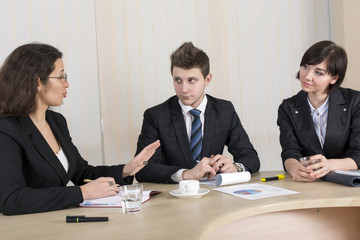 Young businesspeople discuss the idea