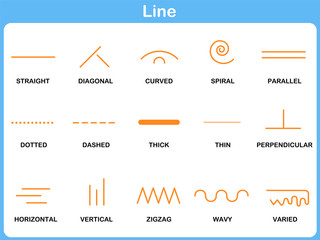 Leaning Line Worksheet for  Children
