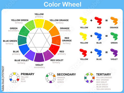 Color Wheel Worksheet Red Blue Yellow Color For Kids Buy