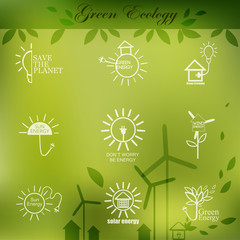 Illustrations with icons of ecology, environment, green energy