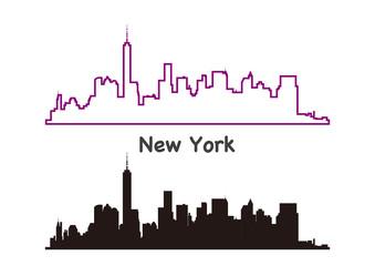 ニューヨークの街並みシルエット