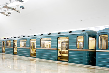 Subway train in metro station