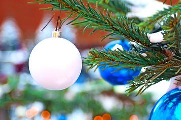 Branch of fir decorated balls