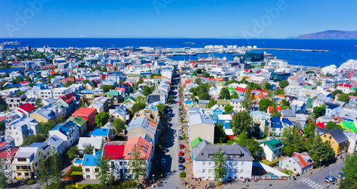 Fotobehang Scandinavië Beautiful super wide-angle aerial view of Reykjavik, Iceland